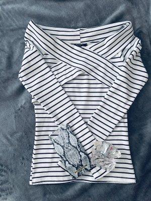 SheIn Camisa acanalada blanco-azul oscuro