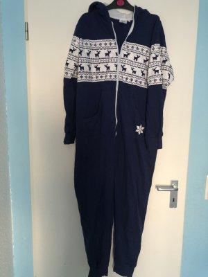 bpc bonprix collection Langer Jumpsuit white-dark blue