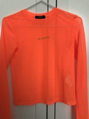 Bershka Siateczkowa koszulka pomarańczowy neonowy