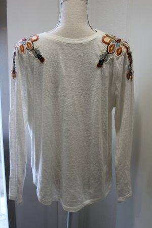 Langarm Shirt Creme mit Applikation Gr L