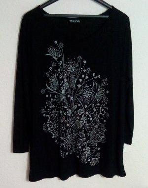 Langarm Shirt Größe 46/48 Schwarz Print Nieten