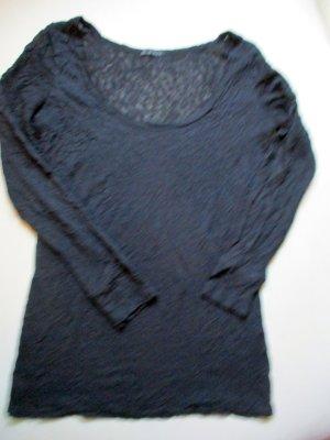 Langarm Shirt in leichter Pulli Qualität Transparent in Crash Optik Schwarz