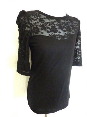 Langarm Shirt mit Spitze Langarm Longshirt Tunika Damen Bluse Spitze schwarz 40 42 NEU