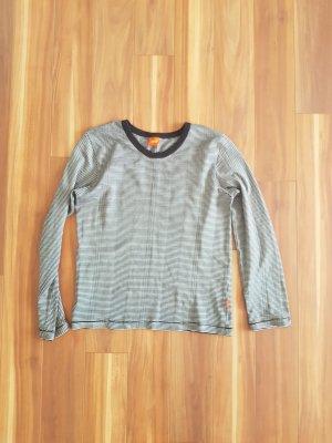 Langarm Shirt Oberteil Pullover schwarz weiß gestreift Gr. S