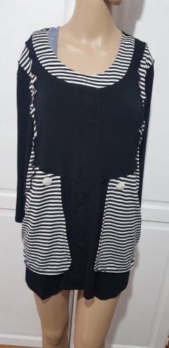 langarm shirt Oberteil schwarz weiß gestreift