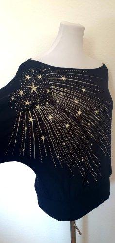 Langarm Shirt schwarz mit Sternen Print Glitzer Glam Gr 38