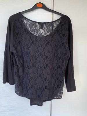 Langarm Shirt schwarz Spitze 40