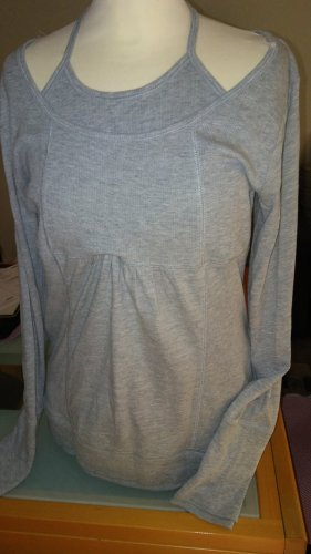 Only Camisa acanalada gris-gris claro Algodón