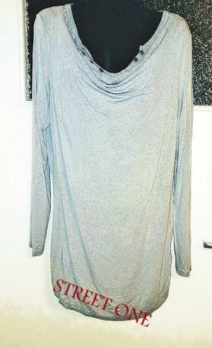 Street One Cowl-Neck Shirt grey-light grey mixture fibre