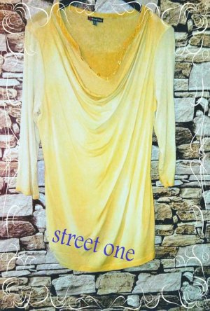 Street One Cowl-Neck Shirt dark yellow-pale yellow mixture fibre