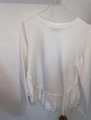 Langarm Shirt/ weiß/ Spitze
