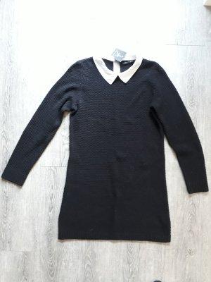 Langarm Strick-Kleid schwarz mit weißem Kragen knielang A-Linie Wollkleid Gr. S, Neu