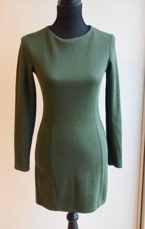 Langarm Strickkleid Winterkleid Minikleid khaki olivgrün dunkelgrün