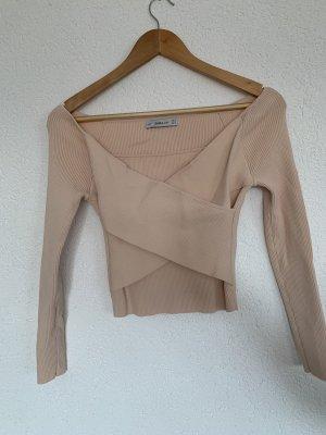 Langarm top zara knit überkreuztest Detail rose