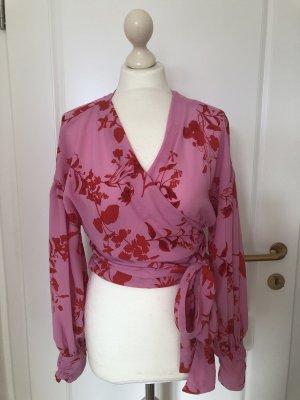 Langarm Wickelbluse Blumenprint rosa/rot