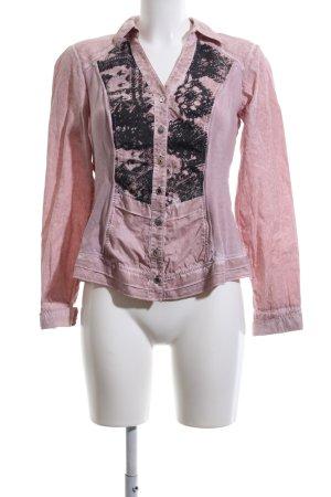Crisca Langarmhemd pink-schwarz abstraktes Muster Casual-Look