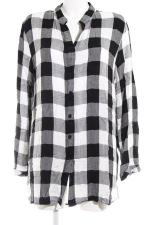 Langarmhemd schwarz-weiß Karomuster Casual-Look