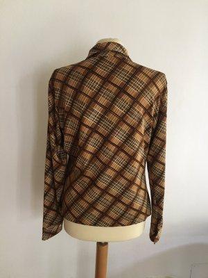 Langarmhemd von ROBERT FRIEDMAN SOPHISTICATED, weiß-braun abstraktes Muster, Vintage look-a-like