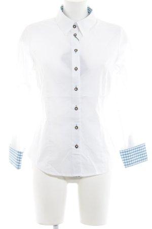Langarmhemd weiß-kornblumenblau Vichykaromuster Casual-Look