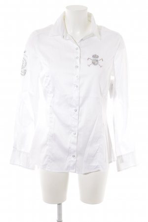 Langarmhemd weiß-silberfarben Casual-Look