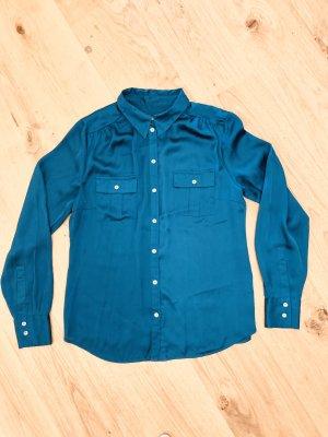 Langarmige Bluse/ Hemd/ Shirt v More&More klassisch mit Stehkragen Türkis Gr. 38/M