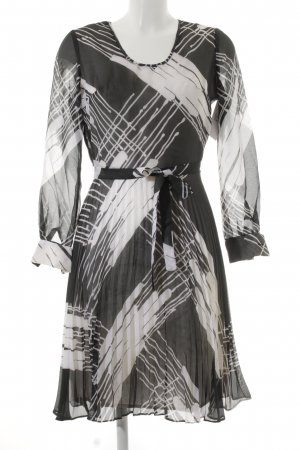 Langarmkleid anthrazit-weiß abstraktes Muster Elegant