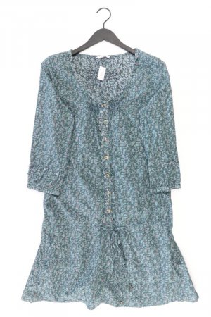 Langarmkleid Größe 42 mit Blumenmuster grün aus Baumwolle