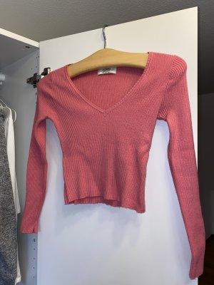 Pull & Bear Prążkowana koszulka różowy-różowy