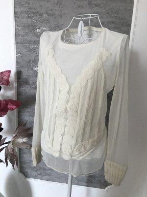 Passport Camisa de malla blanco puro tejido mezclado