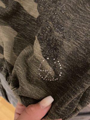 Langarmshirt Armyoptik von Key Largo mit Steinchen und Glitzerdetails