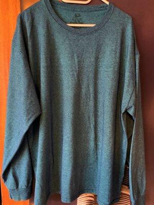 Langarmshirt blaugrün meliert Fruit of the Loom Platinum Größe XL
