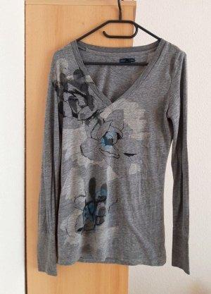 American Eagle Outfitters Print Shirt dark grey-cornflower blue mixture fibre
