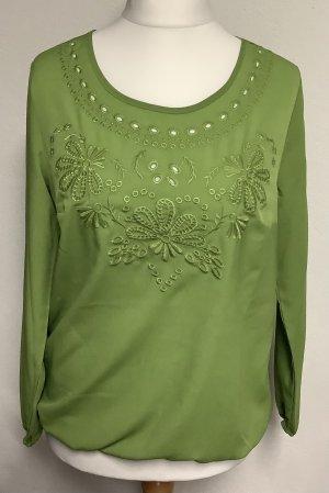 Langarmshirt Dress in Gr. 40 grün Blumen Stickereien neuwertig