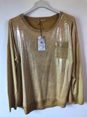 Langarmshirt Glitzer gelb italienische Mode 42 neu fashion
