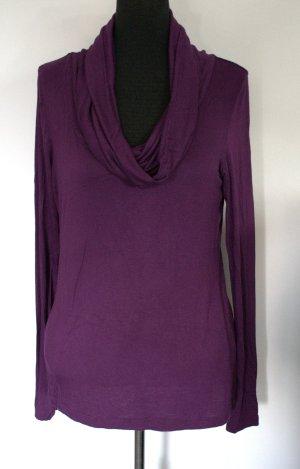 H&M Koszulka z golfem brązowo-fioletowy Tkanina z mieszanych włókien