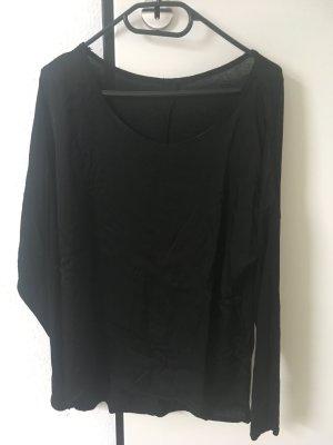 Langarmshirt Materialmix Gr. 38 schwarz