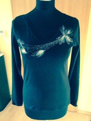 Langarmshirt mit Aufdruck, Esprit, Gr. M, schwarz, V-Ausschnitt