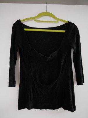 Langarmshirt mit eingewebten Metallicfäden und Rückenausschnitt