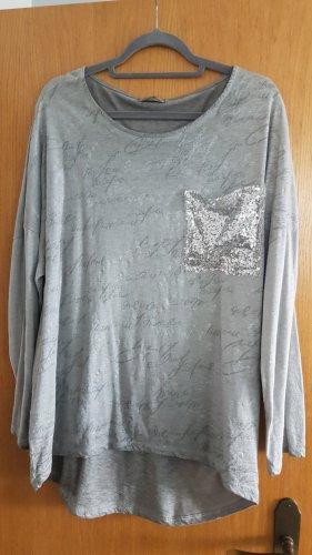 Shirt met print lichtgrijs