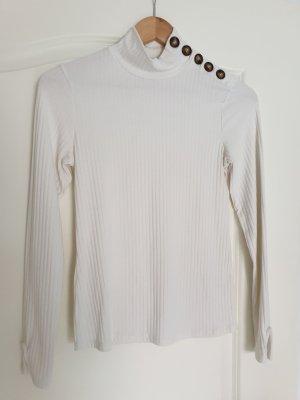 Pimkie Koszulka z golfem w kolorze białej wełny-jasnobeżowy