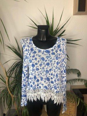 Langarmshirt mit Muster weiss blau von H&M