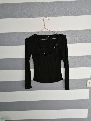 H&M Ribbed Shirt black-silver-colored