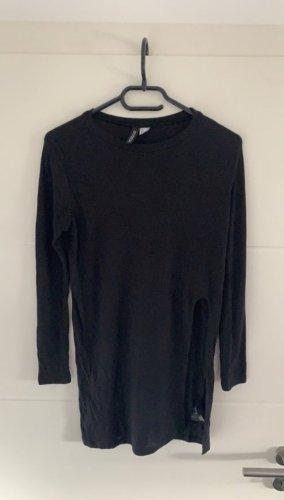 H&M Prążkowana koszulka czarny