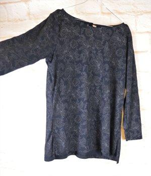 Langarmshirt mit Tropfenausschnitt Yessica Größe L 40 42 Dunkelblau Schwarz Nachtblau