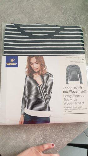 Tchibo / TCM Stripe Shirt white-dark blue