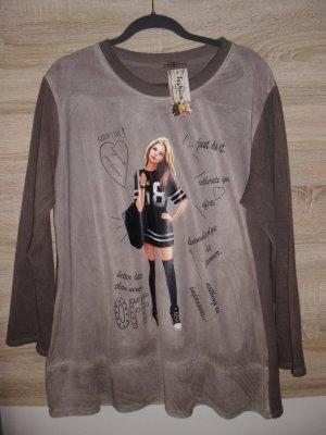 100% Fashion Lang shirt grijs-bruin Katoen