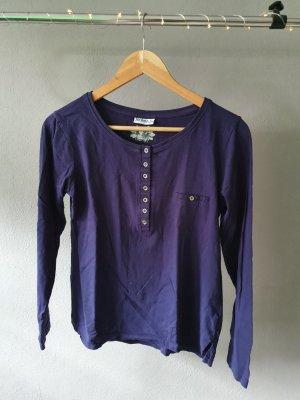 Langarmshirt Pullover Pulli Sweatshirt Shirt Langarm lila Knopfleiste Knöpfe Brusttasche