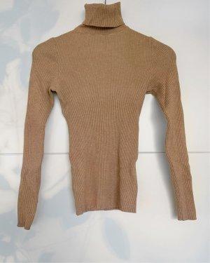 Langarmshirt - Rollkragen - beige