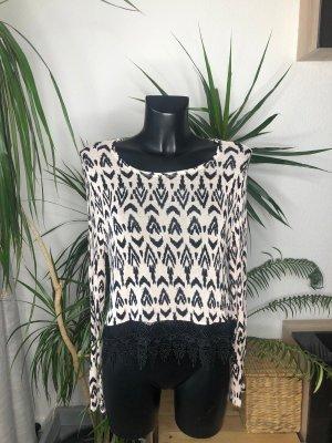 Langarmshirt schwarz weiss, Feinstrick H&M