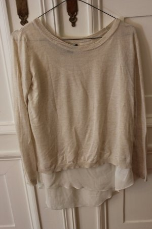 Amisu Sweater Twin Set beige-white polyester